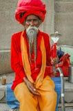 Aged Sahdu. Close-up of a Sadhu in Varanasi, India royalty free stock photos