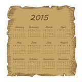 Aged scroll calendar 2014 Royalty Free Stock Images