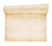 Aged scroll paper. Old textured paper, isolated on white stock images