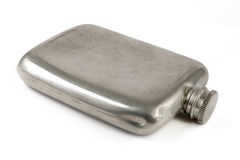 Aged silver hip flask Stock Images