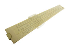Aged slide rule isolated Royalty Free Stock Image
