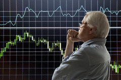 Aged stock trader Royalty Free Stock Photo