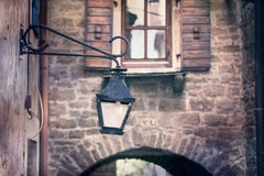 Aged street light lamp selective focus Stock Images