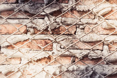 Aged street wall background, old red brick texture background Stock Photography