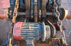 Aged technology: Old and rusty gearwheel on an old ship - retro Stock Photo