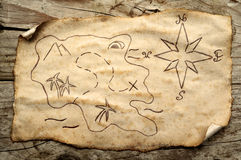 Aged treasure map. Treasure map on aged paper with curl royalty free stock images