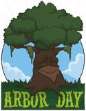Aged Tree Promoting Arbor Day Celebration, Vector Illustration. Old tree ready to celebrate Arbor Day in a beautiful grass field with greeting and round button stock illustration