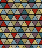 Aged triangle tiles seamless pattern, simplistic vector backgrou Royalty Free Stock Photos