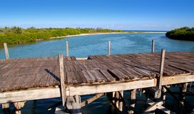Aged tropical wood bridge in Sian Kaan Tulum Stock Image