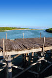 Aged tropical wood bridge in Sian Kaan Tulum Royalty Free Stock Images