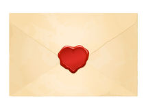 Aged vintage envelope with blank heart wax seal royalty free illustration