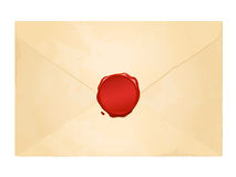 Aged vintage envelope with blank wax seal Stock Photo