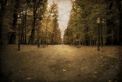 Aged/vintage photograph/postcard of a city park Stock Photography