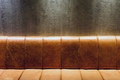 Brown Vintage Leather Couch at Night Royalty Free Stock Photo