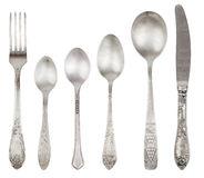 Aged vintage silver fork, knife, spoons Stock Photography