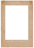 Aged vintage studio portfolio picture frame. Aged vintage studio portfolio picture photo frame, vertical isolated old retro beige sepia stained album cardboard royalty free stock photo