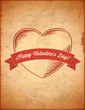 Aged vintage Valentines Day card Stock Images
