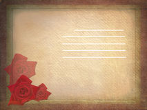 Aged vintage wedding card with red roses. Royalty Free Stock Image