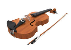 Aged Violin with Bow Isolated. On white background. 3D render Royalty Free Stock Images