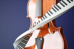 Aged violin and piaone keys concept. 3D rendering Royalty Free Stock Photos