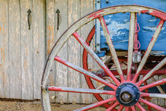 Aged wagon with barn doors. Red and Blue wagon with barn doorss at Famington Plantation in Louisville, Jefferson County, Kentucky Stock Images
