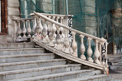 Aged white stone stairway. hierarchy stepping stones concept. Damaged object Royalty Free Stock Image