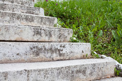 Aged white stone stairway Stock Photo