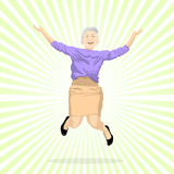 Aged Woman Jumping Of Joy Royalty Free Stock Photography