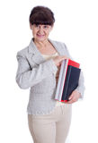 Aged woman posing like an administrator, secretary Stock Image