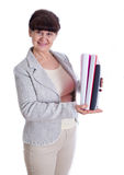 Aged woman posing like an office worker,  secretary Royalty Free Stock Photo
