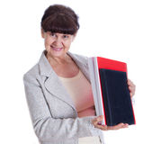 Aged woman posing like an office worker,  secretary Royalty Free Stock Images