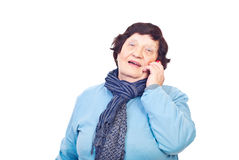 Aged woman speaking by phone mobile Royalty Free Stock Image