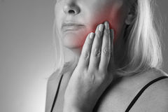 Aged woman with toothache, teeth pain closeup Royalty Free Stock Photo