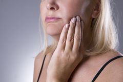 Aged woman with toothache, teeth pain closeup Royalty Free Stock Photography