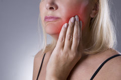 Aged woman with toothache, teeth pain closeup Stock Photography