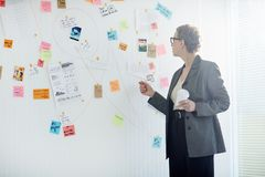 Mature detective. Aged women in formalwear standing by whiteboard and learning evidence of crime royalty free stock photography