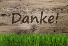 Aged Wooden Background, Gras, Danke Means Thank You Stock Images