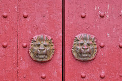 Aged wooden door in red Royalty Free Stock Photo