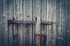 Aged Wooden Gate with Hinge and Lock (vintage style) Royalty Free Stock Images