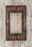 Aged wooden frame on the old wood Royalty Free Stock Image