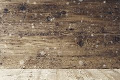 Aged Wooden Texture With Snowflakes, Background With Copy Space. Aged Wooden Texture With Copy Space For Advertisement. Natural Wood Background With Snowflakes stock photo