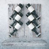 Aged wooden wine rack. On concrete background. 3D Rendering Stock Images