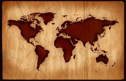 Aged World Map. World map on aged, grungy paper stock illustration