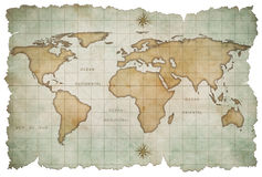 Aged world map isolated Stock Photo