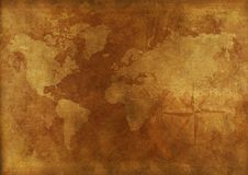 Aged World Map Stock Photography