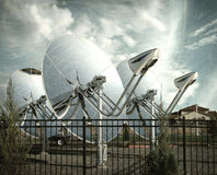 Aged and worn photo of parabolic dish Royalty Free Stock Photo