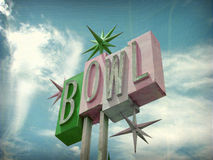 Aged and worn vintage bowl sign Stock Photos