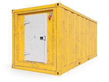 Aged Yellow refrigerated container isolated on white. 3d rendering Stock Photos