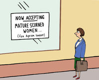Ageism Lawsuit. Cartoon about ageism lawsuit for mature scorned women vector illustration