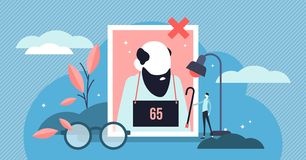 Ageism vector illustration. Flat tiny old persons discrimination concept. Elder employee stereotypes symbols and unfair career experience. Tolerance and vector illustration